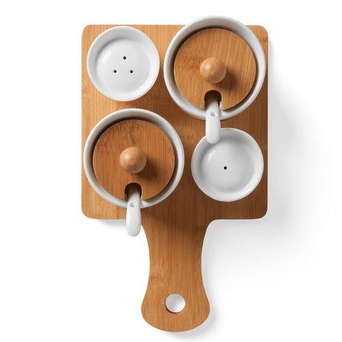 Wood & Ceramic Seasoning Set
